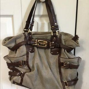 Michael Kors Beige Tweed with Leather Trim Bag